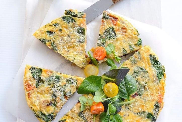 Roast & sweet potato and salmon frittata