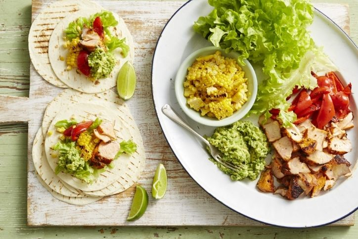 Char-grilled Salmon Tacos with Guacamole